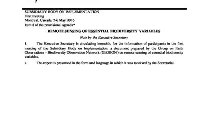 UN-CBD SBSTTA 21 Information Note on RS-enabled EBVs