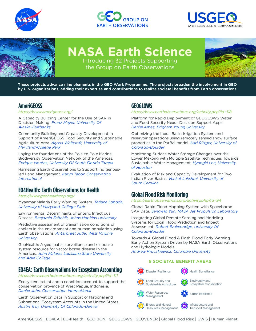 NASA announces 32 remote sensing projects supporting the Group on Earth Observations